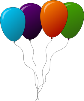 Four balloons clipart png image