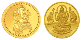 Laxmi and Ganesh images gold coin png