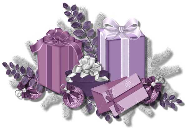 Pink Purple Presents gift box with flower