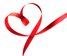 heart in ribbon style PNG image