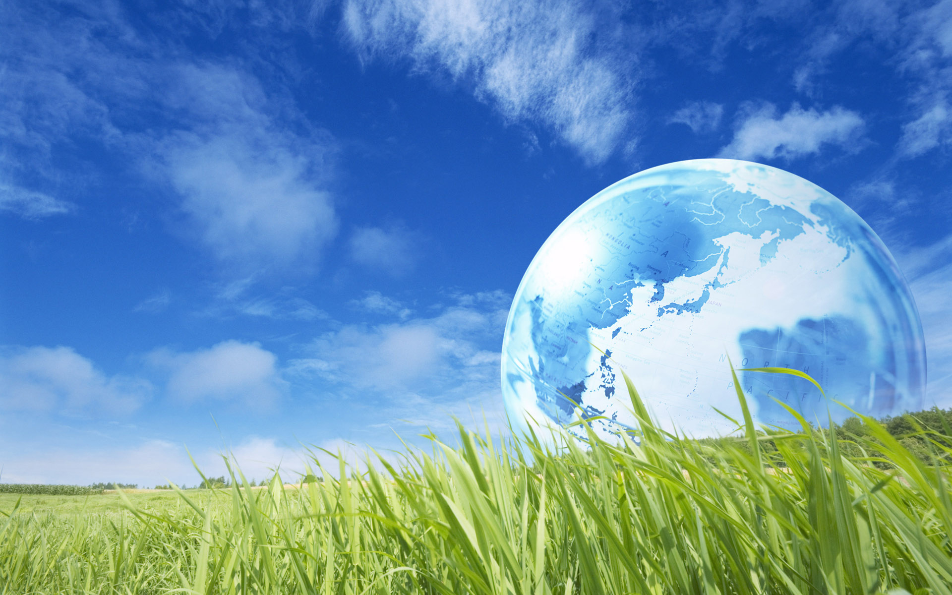 Grass background with Globe transparent image
