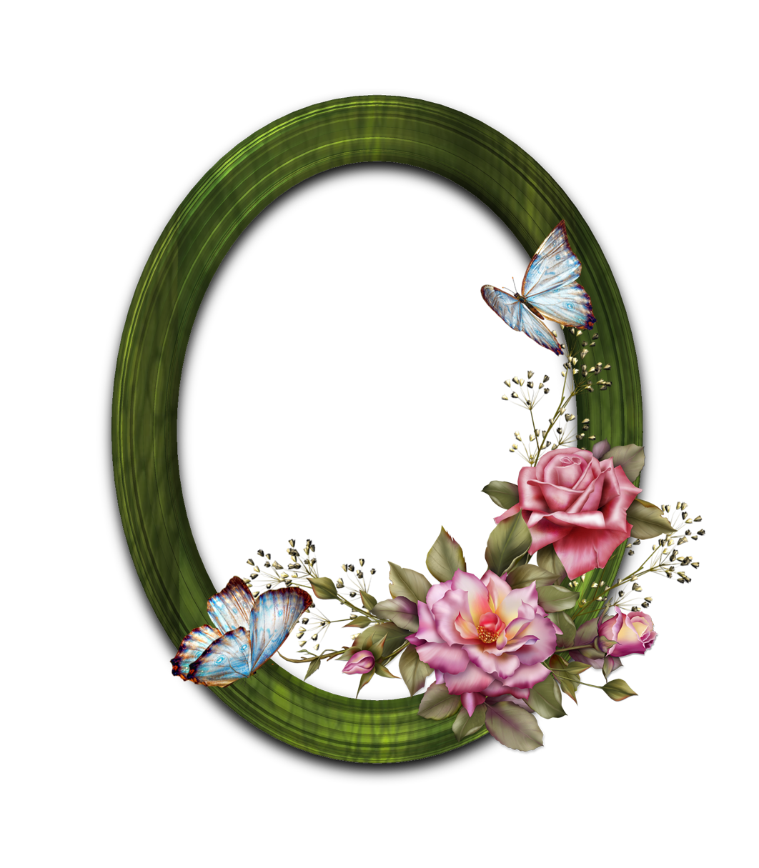 Rose frame png round with butterfly and wooden frame