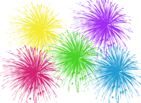 different colour fireworks png image