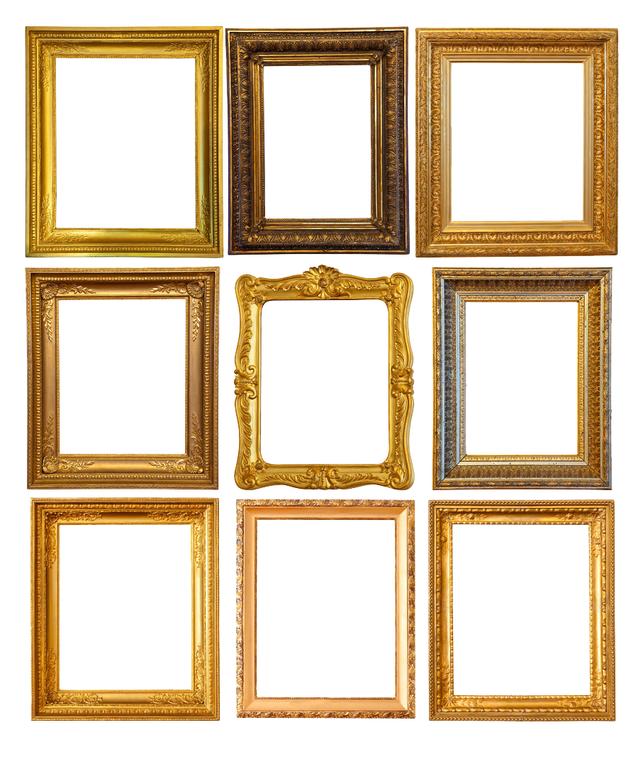 Golden Vintage Frame Transparent Background