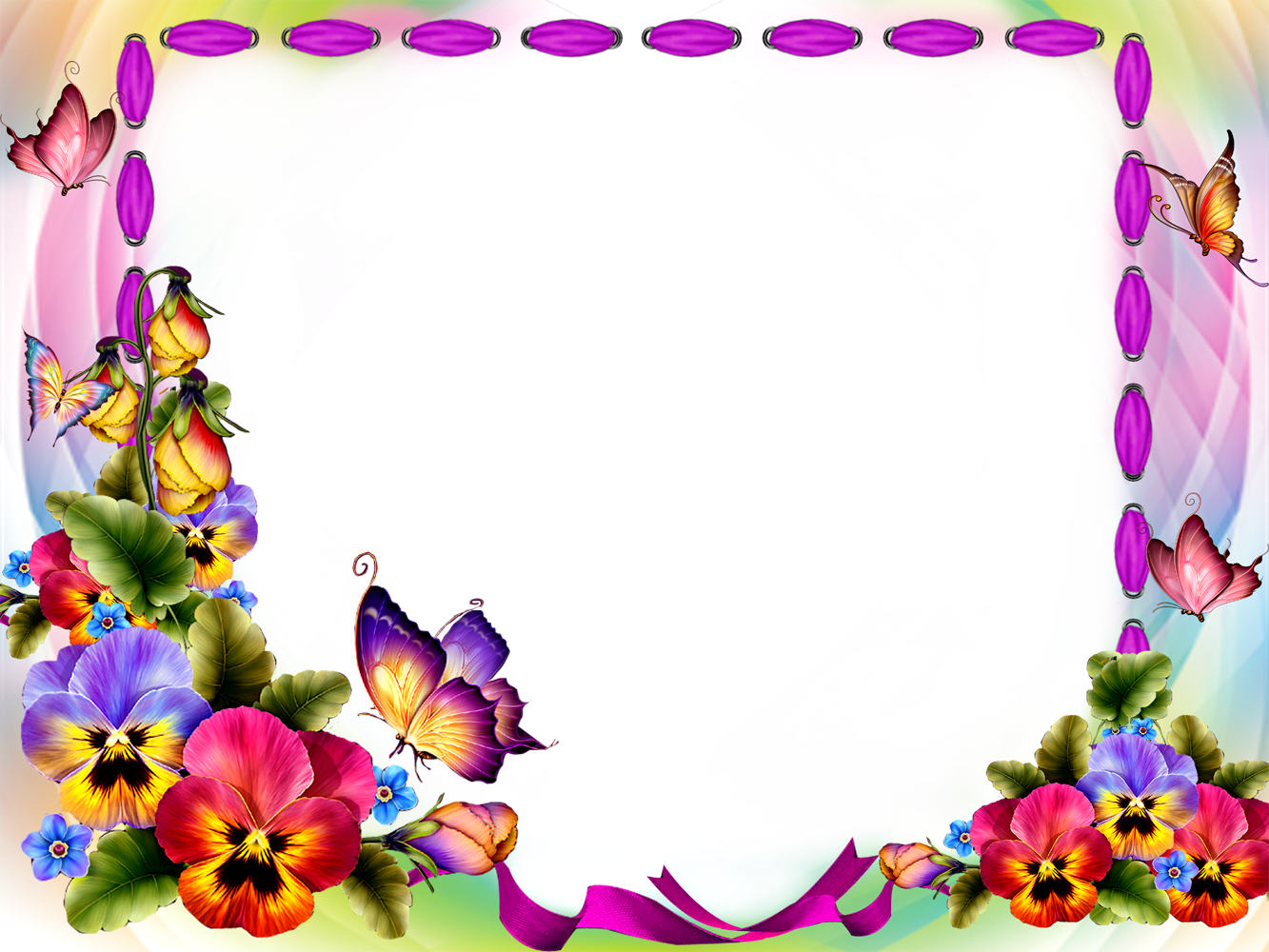 Frame png with flower and butterfly, frame with buttterfly, frame with
