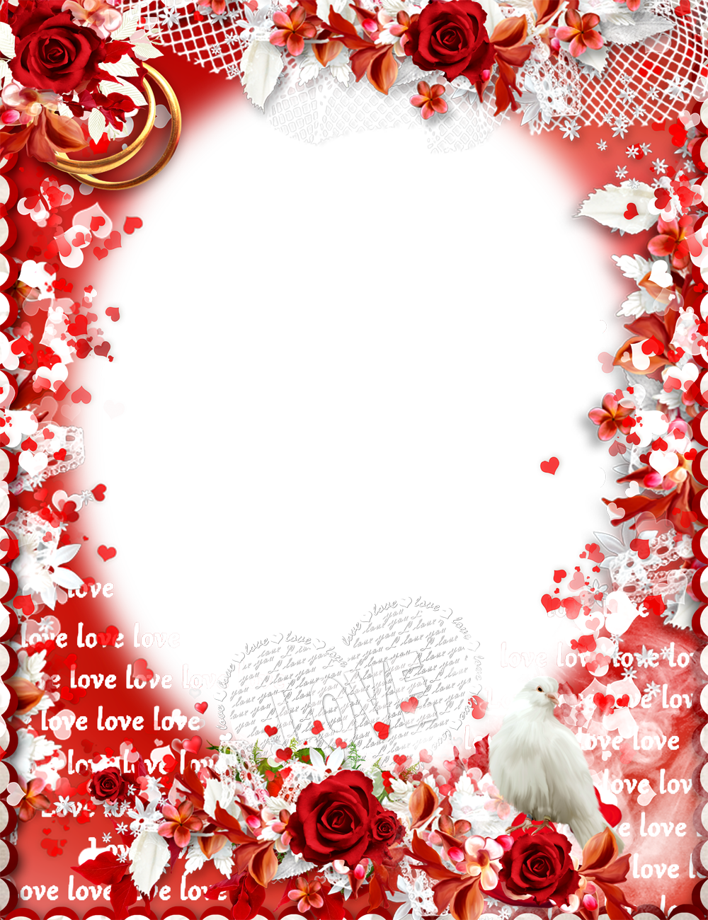 Love Frame Png With Red Rose