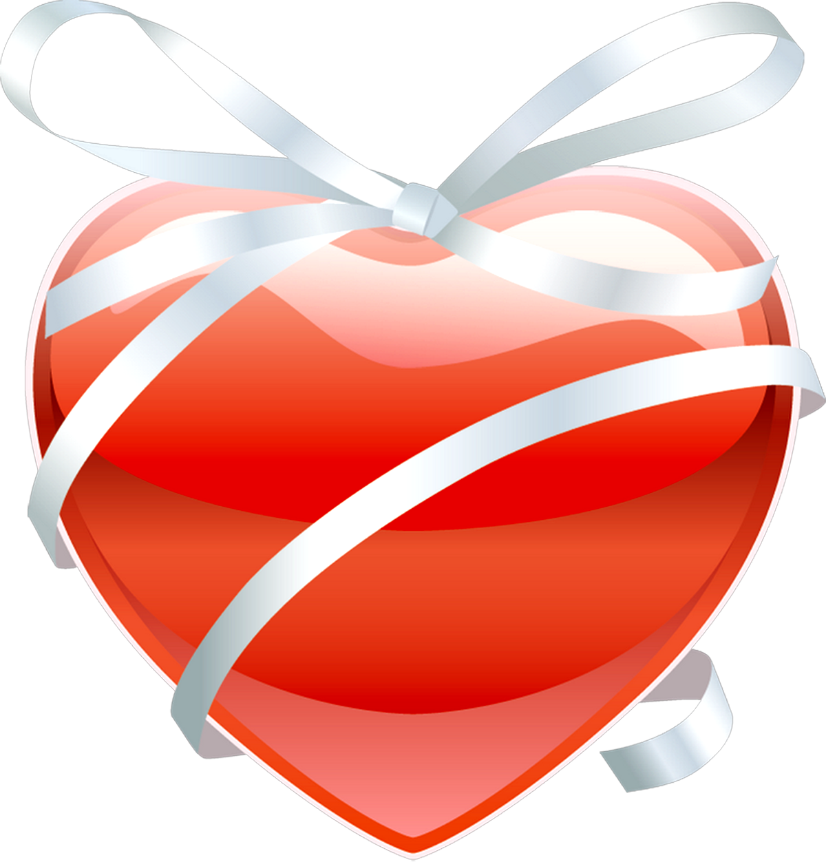 Red heart with ribbon, frame heart png